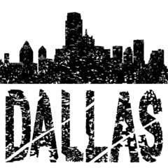Grunge Dallas skyline with text illustration