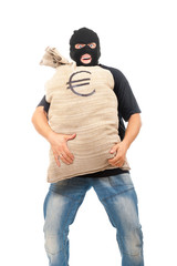 Happy robber with sack full of euro