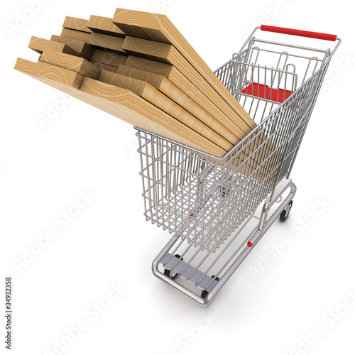 Trolley full of lumber. 3d rendering
