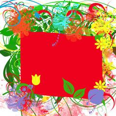 Colorful floral frame