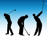 golf players silhouette-vector