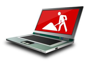 Laptop mit Baustelle