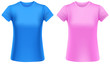 Woman t-shirts, blue and pink, design template.