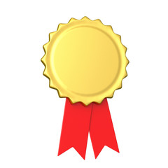 Blank golden award medal with red ribbon 3d