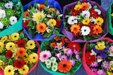 Colorful floral bouquets at market