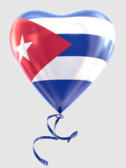 Balloon shape heart flag country Cuba