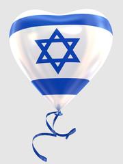 Balloon shape heart flag country Israel