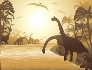 Dinosauri Paesaggio Tropicale-Dinosaurs Tropical Seascape