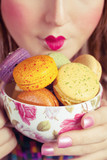 Girl Loves Colorful Macaroons