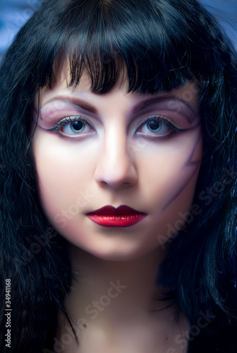 Fashion Model With Halloween Makeup