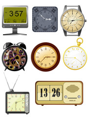 Collection of vector illustrations clock