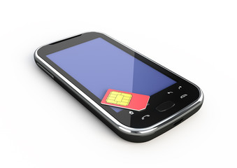 Abstract touchscreen smartphone and sim card