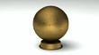 Close-up on a turning golden soccerball trophy