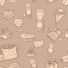 Hand drawn seamless pattern: belgian traditional food and beer.
