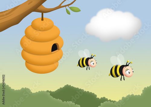 Bee and Beehive