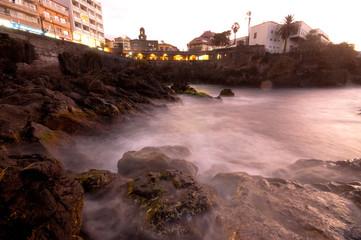 Tenerife - Puerto de la Cruz. Long exposure night scene showing