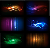 Fototapety Set of colorful abstract neon backgrounds. Vector.