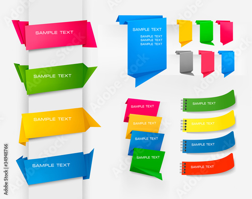 Huge set of colorful origami paper banners. Vector illustration.