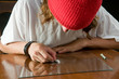 teen boy using razor to make a line of cocaine