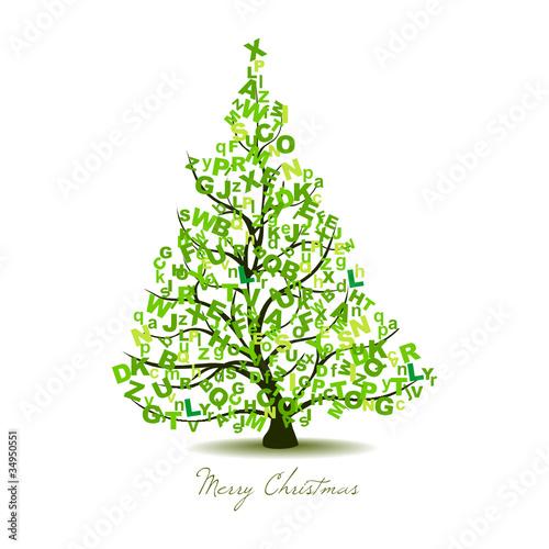 Arbol de navidad decorativo con letras im genes de - Arbol de navidad adornado ...