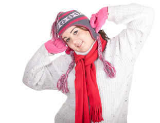 young fat woman in winter hat and mittenswith, series