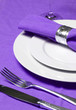 table setting in purple