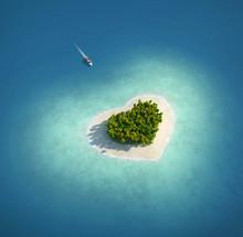 """Постер, картина, фотообои """"Paradise Island in the form of heart"""""""