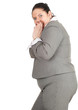 frightened overweight, fat businesswoman, series