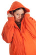 young fat woman in orange sweatshirt and hood