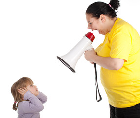 little girl and screaming fat mother with megaphone