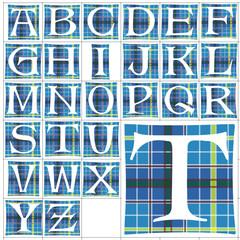 ABC Alphabet background alte caps fabric design