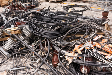 Pile of used electric cable