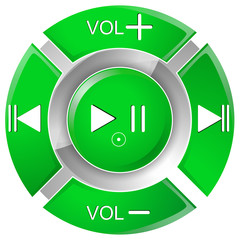 vector illustration of green remote control buttons