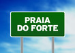 Постер, плакат: Green Road Sign Praia do Forte Brazil