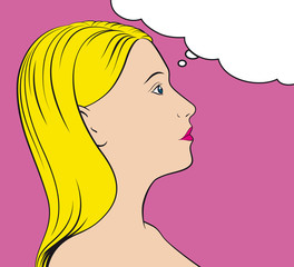 Vector pop art/comic style thinking woman with thought bubble