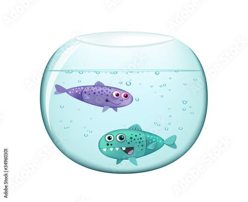 Two Funny Illuminated Fish in Aquarium