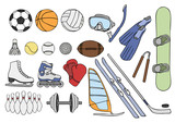 sport items vector set poster