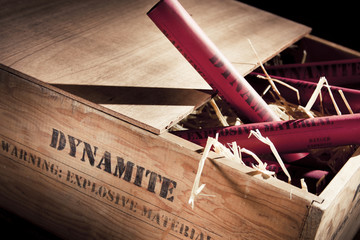 dangerous dynamite sticks on wooden a box