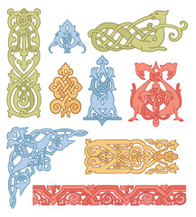Celtic color ornaments vector set