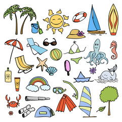 vacation on sea color vector set