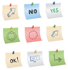 stickers with pins and different symbols, vector