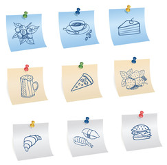 stickers with pins and food symbols, vector