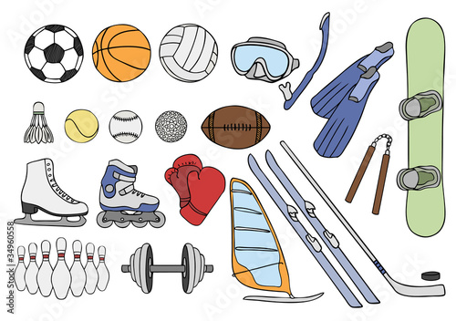 sport items vector set