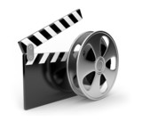 Fototapety Film and  clap board movies symbol 3d. Isolated on white