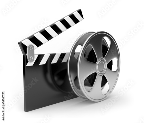 Film and  clap board movies symbol 3d. Isolated on white
