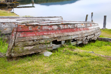 Rotten wooden row boat