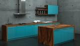 Küchendesign - Küche blau vor Betonwand