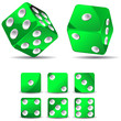 set of green dices isolated on white background