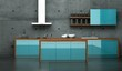 Küchendesign - Küche blau vor Betonwand 2