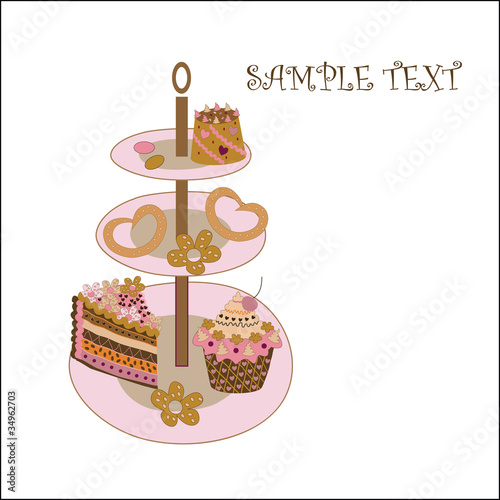 greeting card with a cake and biscuits
